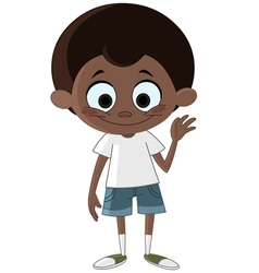 Black kid waving vector