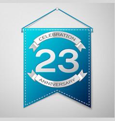 blue pennant with inscription twenty three years vector image