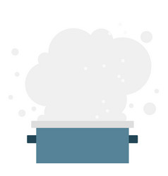boiling water in a saucepan flat isolated vector image