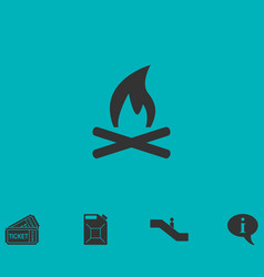 Bonfire icon flat vector