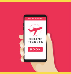 Booking airplane online tickets on smartphone vector
