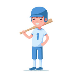 boy baseball player is standing and holding a bat vector image
