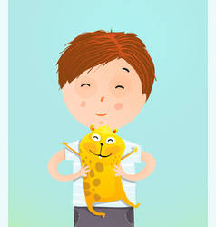 Boy kid holding guinea pig vector