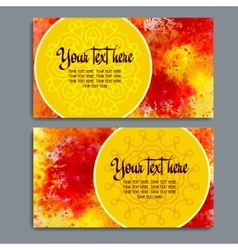 Business cards with watercolor background vector image