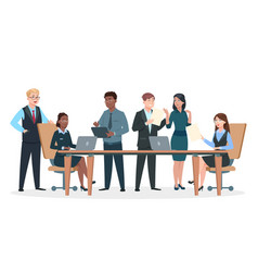 Business persons in office flat characters vector