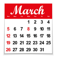 calendar 2017 with the month of march days of the vector image