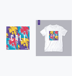 california graphic t-shirt design with palm tress vector image
