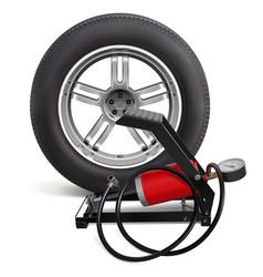 car wheel with pump vector image