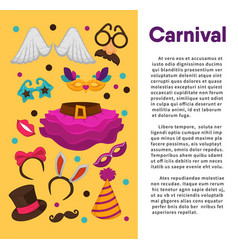 carnival masks and costume accessory poster vector image