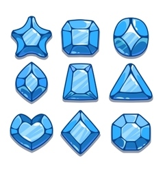 Cartoon blue different shapes gems vector