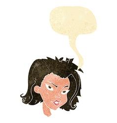 Cartoon female face with speech bubble vector