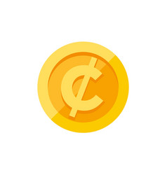Cent or centavo currency symbol on gold coin flat vector