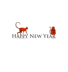 Chinese new year card with red monkeys vector image