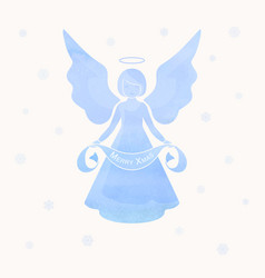 Christmas angels and snowflakes vector