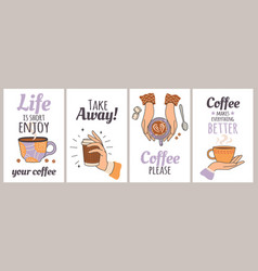 coffee cups and quotes poster for cafe vector image