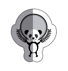 Color sticker circle with panda bear and olive vector