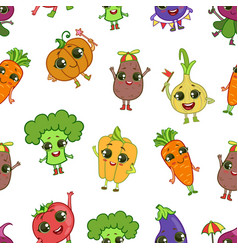 colorful funny vegetables characters seamless vector image