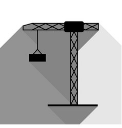 construction crane sign black icon with vector image