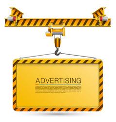 crane lifts the billboard vector image