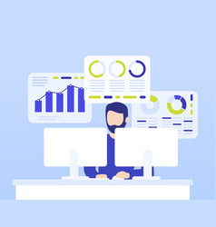 data analytics man working with business vector image