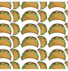 Delicious mexican tacos food background vector