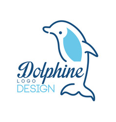 Dolphine logo design nautical symbol in blue vector