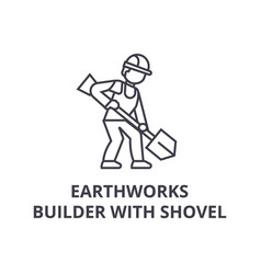 Earthworks builder with showel line icon vector