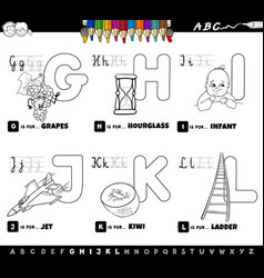 educational cartoon alphabet set coloring book vector image