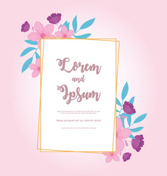 flowers wedding save date decorative rustic vector image