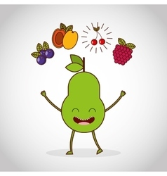Fresh fruit comic character vector