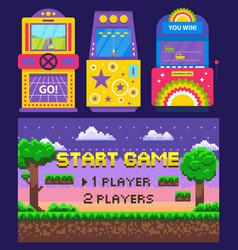 Game over pixel arcade machines vector