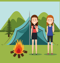 Girls with smartphones in the camping zone vector