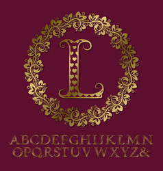 Gold hearts patterned letters initial monogram vector