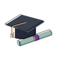 Graduation cap diploma certificate school vector