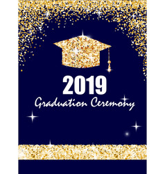 graduation ceremony banner with golden graduate vector image