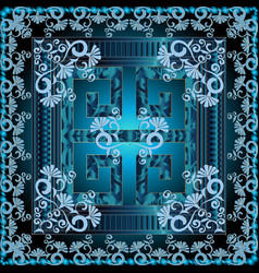 Greek 3d square panel pattern floral blue shiny vector