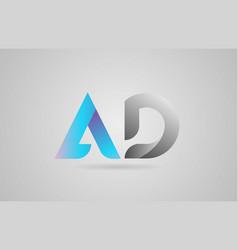 Grey blue alphabet letter ad a d logo icon design vector