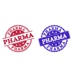 Grunge scratched pharma seal stamps vector