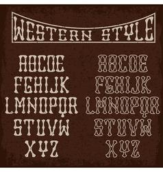 Grunge western alphabet vector