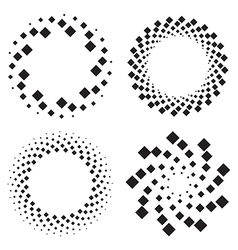 Halftone circles of diamonds twisted spiral vector image vector image