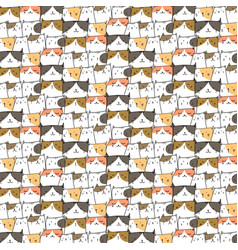 Hand drawn cute cats pattern background vector