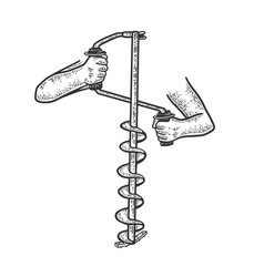 hand ice drill sketch vector image