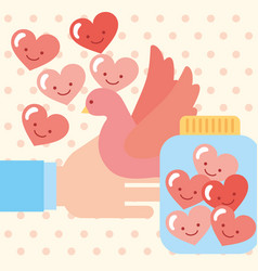 hand with pigeon and jar love hearts cartoon vector image