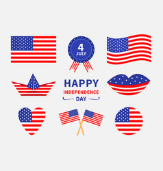 Happy independence day icon set united states of vector