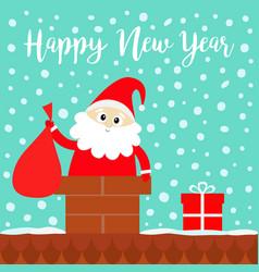 happy new year santa claus in rochimney vector image
