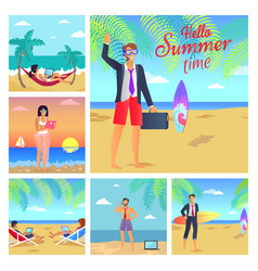 hello summer time business vector image