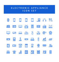 Home appliances electronic icon set with filled vector