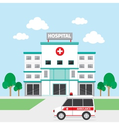 Hospital Building And Ambulance vector