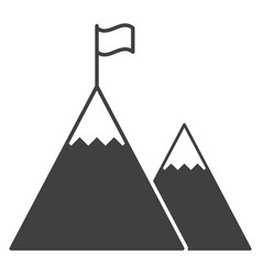 Icon a flag on top of the highest mountain vector