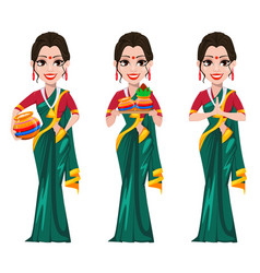 Indian girl standing with pots and with folded vector